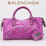 BALENCIAGA 085328A-6 -桃紅進口白大釘 巴黎世家女士時尚手提包 氣質單肩包