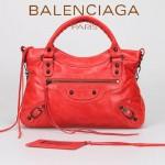 BALENCIAGA 085331-5 -淺紅進口油皮卡古銅小釘 巴黎世家女士手提包 時尚單肩包