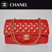 CHANEL 1113-25 新款複古小香風紅色銀鏈羊皮2.55菱格鏈條單肩包包