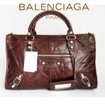 BALENCIAGA 084324A-2-咖啡色羊皮 巴黎世家 女士時尚手提包