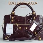 BALENCIAGA 084332B-1 深啡色大金扣 巴黎世家女士手提包 時尚單肩包