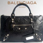 BALENCIAGA 084324A-1-黑色羊皮 巴黎世家 女士時尚手提包