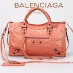 BALENCIAGA 084332-6-粉色 進口皮 巴黎世家女士手提包 時尚單肩包