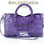 BALENCIAGA 085332-54-紫色進口油皮卡古銅小釘巴黎世家女士手提包 時尚單肩包