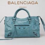 BALENCIAGA 085332-6 -海藍色進口油皮卡古銅小釘 巴黎世家女士手提包 時尚單肩包