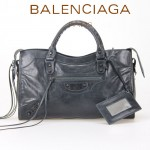 BALENCIAGA 085332-17-墨綠進口油皮卡古銅小釘 巴黎世家女士手提包 時尚單肩包