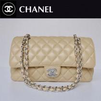 CHANEL 1113-34 小香風名牌杏色銀鏈雙C鏈條菱格包小羊皮女士單肩包