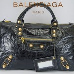 BALENCIAGA 084324B-深灰色羊皮 巴黎世家 女士時尚手提包