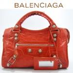 BALENCIAGA 084332A-1 橙色進口皮 巴黎世家女士手提包 時尚單肩包