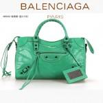 BALENCIAGA 085332-33-深果綠進口油皮卡古銅小釘 巴黎世家女士手提包 時尚單肩包