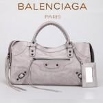 BALENCIAGA 085328-3 -淺灰進口小釘 巴黎世家女士時尚手提包 氣質單肩包