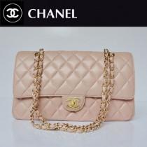 CHANEL 1113-12 爆款經典粉色金鏈羊皮菱格時尚晚宴鏈條包單肩包