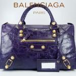 BALENCIAGA 084324B-1-深紫色羊皮 巴黎世家 女士時尚手提包