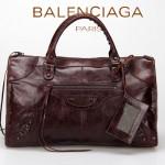 BALENCIAGA 085324S-2 -深啡進口小釘 巴黎世家女士時尚氣質手提包