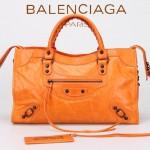 BALENCIAGA 085332-1 -橙色進口油皮卡古銅小釘 巴黎世家女士手提包 時尚單肩包