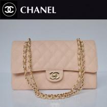 CHANEL 1113-10 爆款經典粉色金鏈魚子醬皮菱格時尚晚宴鏈條包單肩包
