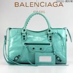 BALENCIAGA 085332-10-湖水綠進口油皮卡古銅小釘 巴黎世家女士手提包 時尚單肩包
