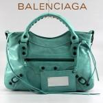 BALENCIAGA 085331-3 -湖水綠進口油皮卡古銅小釘 巴黎世家女士手提包 時尚單肩包