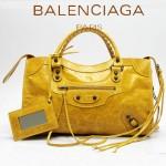 BALENCIAGA 085332-16-桔黃進口油皮卡古銅小釘 巴黎世家女士手提包 時尚單肩包