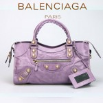 BALENCIAGA 085328B-4 -茄紫進口金大釘 巴黎世家女士時尚手提包 氣質單肩包