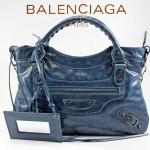 BALENCIAGA 085331 -寶藍進口油皮卡古銅小釘 巴黎世家女士手提包 時尚單肩包