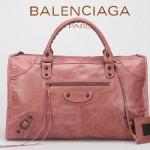 BALENCIAGA 085324S-4 -水蜜桃色進口小釘 巴黎世家女士時尚氣質手提包