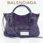 BALENCIAGA 085331-11 -紫藍色進口油皮卡古銅小釘 巴黎世家女士手提包 時尚單肩包