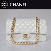 CHANEL 1113-6 名牌白色金鏈潮流女包雙C菱格包小羊皮女士單肩包