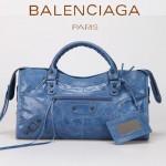 BALENCIAGA 085328-1 -海藍色進口小釘 巴黎世家女士時尚手提包 氣質單肩包