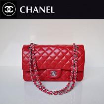CHANEL 1112-20 新款經典款紅色銀鏈羊皮單肩斜挎女包