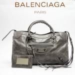 BALENCIAGA 085332-35-深銀灰進口油皮卡古銅小釘 巴黎世家女士手提包 時尚單肩包