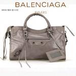 BALENCIAGA 085332-48-銀灰進口油皮卡古銅小釘巴黎世家女士手提包 時尚單肩包