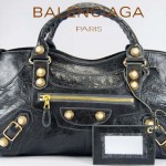 BALENCIAGA 084328B-5-深灰色-羊皮 巴黎世家 女士時尚手提包