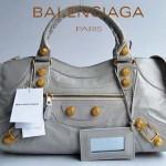 BALENCIAGA 084328B-4-灰白色-羊皮 巴黎世家 女士時尚手提包