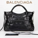 BALENCIAGA 085331-2 -黑色進口油皮卡古銅小釘 巴黎世家女士手提包 時尚單肩包