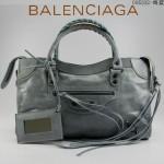 BALENCIAGA 085332-7-海藍色進口油皮卡古銅小釘 巴黎世家女士手提包 時尚單肩包