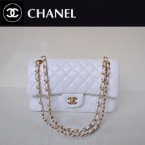 CHANEL 1112-8 熱銷風格大衆經典款白色羊皮金鏈菱格單肩女包