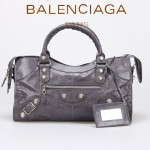 BALENCIAGA 085328A-5 -茄紫進口白大釘 巴黎世家女士時尚手提包 氣質單肩包