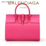 BALENCIAGA 13923L-2-玫紅色-荔枝紋 進口皮巴黎世家女士手提包
