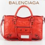 BALENCIAGA 085332-23-淺紅進口油皮卡古銅小釘 巴黎世家女士手提包 時尚單肩包
