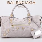BALENCIAGA 085328B-3 -淺灰進口金大釘 巴黎世家女士時尚手提包 氣質單肩包