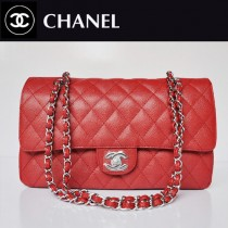 CHANEL 1113-24 新款複古小香風紅色羊皮金鏈菱格鏈條單肩包包