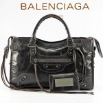 BALENCIAGA 085332-32-深啡進口油皮卡古銅小釘 巴黎世家女士手提包 時尚單肩包