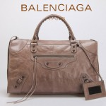 BALENCIAGA 085324S-6 -銀灰色進口小釘 巴黎世家女士時尚氣質手提包