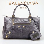 BALENCIAGA 085324B-2-深灰 大金釘 巴黎世家女士時尚氣質手提包