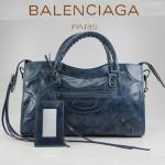 BALENCIAGA 085332 -寶藍進口油皮卡古銅小釘 巴黎世家女士手提包 時尚單肩包