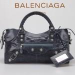 BALENCIAGA 085328A -海藍進口白大釘 巴黎世家女士時尚手提包 氣質單肩包