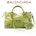 BALENCIAGA 085332-22-淺果綠進口油皮卡古銅小釘 巴黎世家女士手提包 時尚單肩包