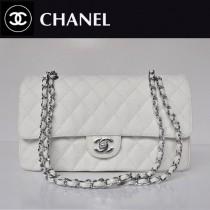 CHANEL 1113-5 名牌白色銀鏈女包雙C菱格包魚子醬皮女士單肩包