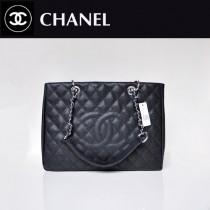 CHANEL 50995-8 歐美經典款黑色銀鏈魚子醬皮手提包菱格紋單肩包